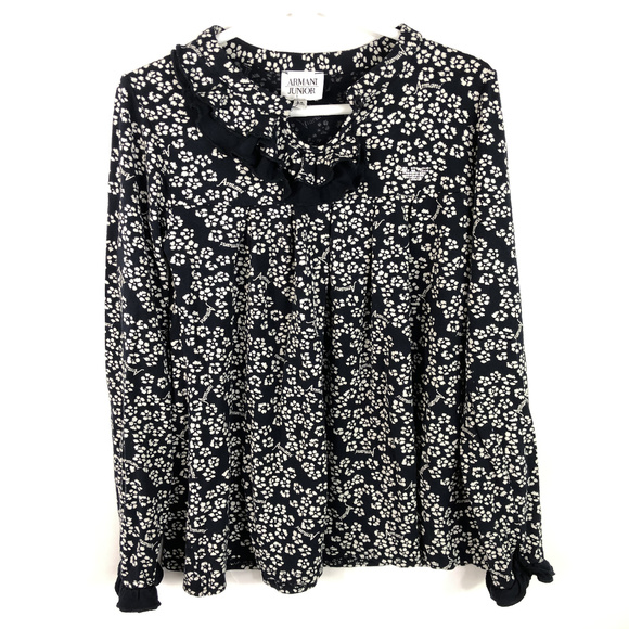 789e4b141e Armani Jr Girls Long Sleeve Shirt Navy Blue Floral